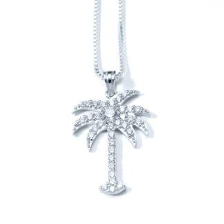 SS-SL-016 Palm Tree Necklace CZ