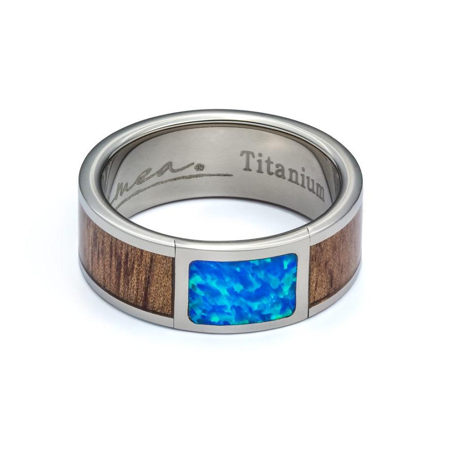 Koa Wood and Created Blue Opal Titanium Ring TRA-1068A-08