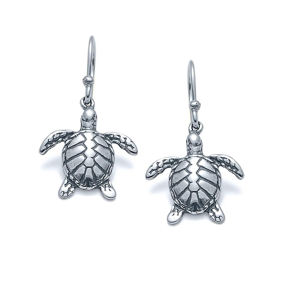 SS-SL-390 Loggerhead Sea Turtle Earrings in Sterling Silver
